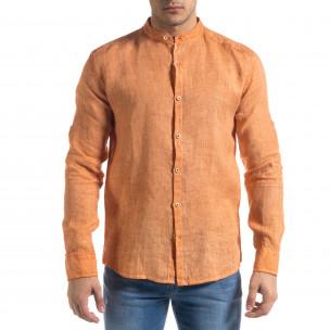 Мъжка оранжева риза от лен с яка столче  2