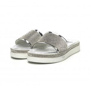 Дамски сребристи чехли с камъчета 2