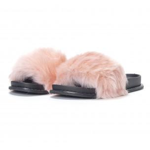 Розови дамски чехли с косъм 2