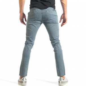 Мъжки син панталон с малки детайли по плата  2
