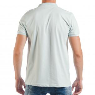 Мъжка тениска с яка basic модел в светло зелено  2