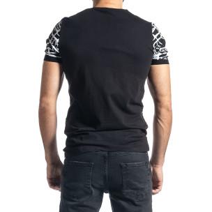 Мъжка тениска Raster черно и бяло  2