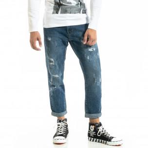 Loose fit Destroyed мъжки сини дънки