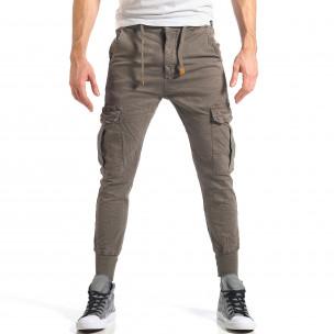 Мъжки зелен карго панталон с контрастни ленти
