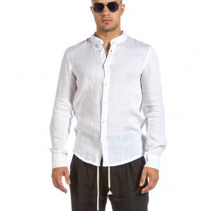 Мъжка бяла ленена риза с яка столче Duca Fashion