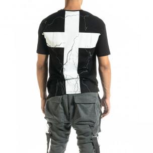 Мъжка черна тениска с кръстове  2