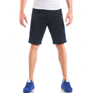 Черни мъжки шорти с контрастни ивици и ципове на джобовете