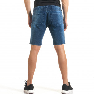 Мъжки сини шорти с ефект на дънки с допълнителни шевове  2