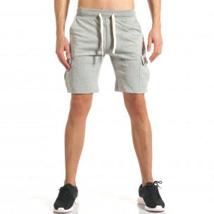 Мъжки сиви шорти с джобове на крачолите