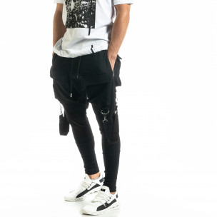 Трикотажен черен панталон Hip Hop Jogger