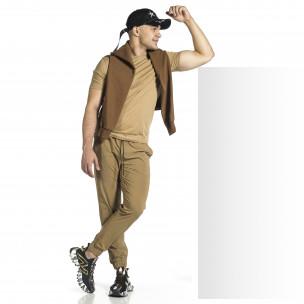 Мъжки шушляков панталон Jogger цвят каки