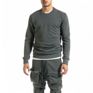 Basic мъжка памучна блуза в сиво