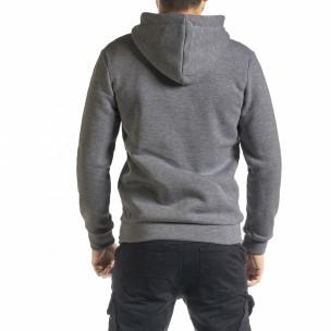 Плътен мъжки суичър с цип цвят графит Clang 2