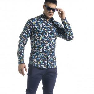 Slim fit мъжка риза геометричен десен