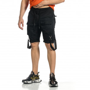 Мъжки черни къси панталони Cargo Hip Hop