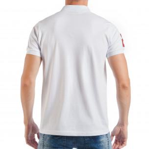 Мъжка тениска пике в бяло с номер 2  2