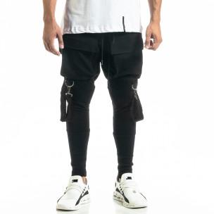 Трикотажен черен панталон Hip Hop Jogger 2
