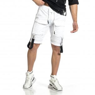 Мъжки бели къси панталони Cargo Hip Hop
