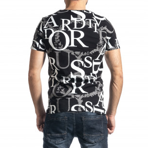 Мъжка черна тениска с десен  2