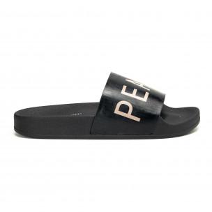 Черни дамски чехли PEACE