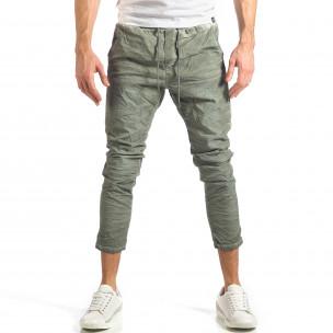 Мъжки зелен лек панталон на малки точици