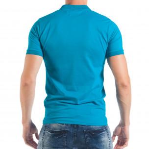 Мъжка тениска пике в ярко синьо  2