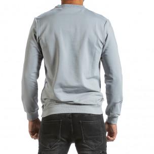 Мъжка сива блуза с релефен принт 2
