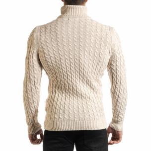Мъжки бежов пуловер с поло яка и плетеници 2