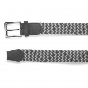 Мъжки плетен колан в сиво