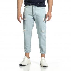 Loose fit мъжки сини дънки с прокъсвания