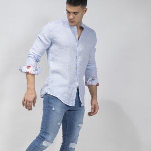 Мъжка синя риза от лен с яка столче