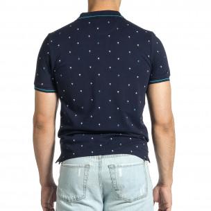 Мъжка тъмносиня тениска пике с палми  2