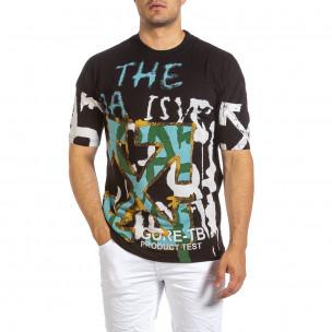 Oversize черна тениска с колоритен принт