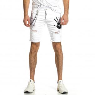Destroyed бели къси дънки с гумиран принт