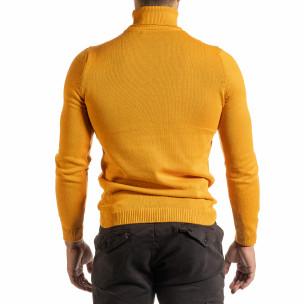 Мъжко оранжево поло от памучна смес  2