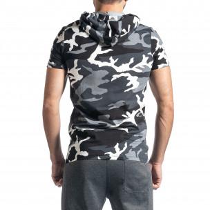 Мъжка тениска с качулка сив камуфлаж  2
