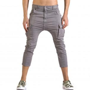 Мъжки сив панталон 7/8 с джобове на крачолите