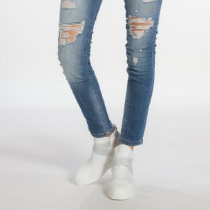 Дамски високи бели кецове със сребристи ластици 2