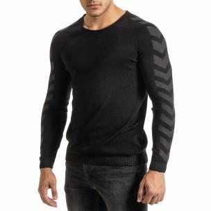 Мъжки черен пуловер реглан ръкав