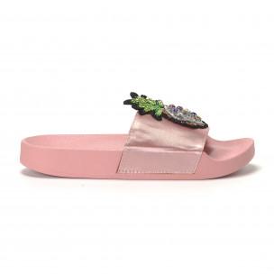 Розови дамски чехли с ананас