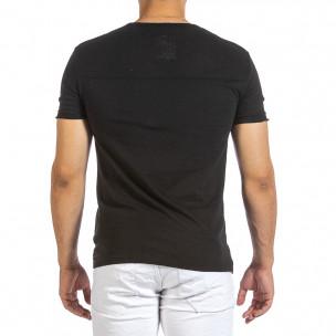 Текстурирана черна тениска с връзка 2