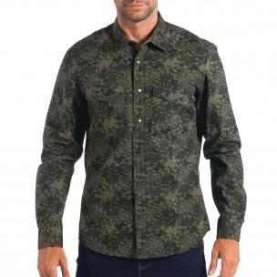 Мъжка риза RESERVED зелен камуфлаж