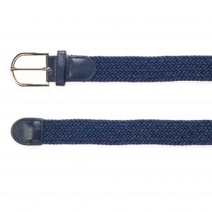 Мъжки тъмно син плетен колан