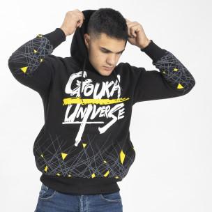 Черен мъжки суичър hoodie с принт