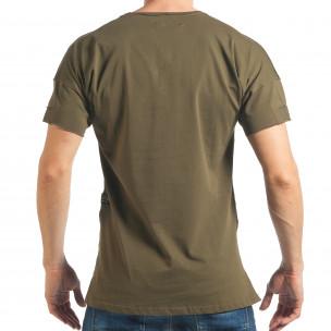 Мъжка зелена тениска с надпис и удължен гръб  2