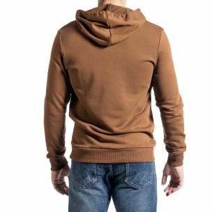Basic мъжки суичър-анорак цвят камел 2