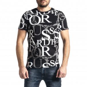 Мъжка черна тениска с десен