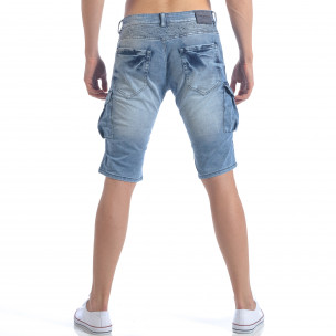 Мъжки къси дънки с джобове на крачолите  2