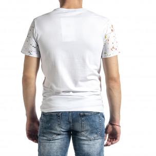 Мъжка бяла тениска с принт и кристали 2