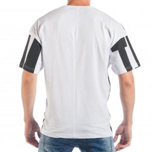 Мъжка черно-бяла тениска със свободна кройка  2